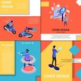 Bannières colorées de conception de couverture réglées avec l'espace de copie illustration libre de droits