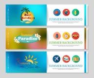 Bannières colorées de vacances d'été et de voyage Photos stock