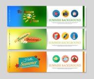 Bannières colorées de vacances d'été et de voyage Image libre de droits