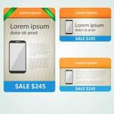 Bannières colorées vendant des téléphones Photos stock
