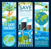 Bannières d'énergie d'économies de vecteur ou de mode de vie de planète d'eco Illustration Libre de Droits