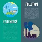 Bannières d'énergie d'Eco et de pollution atmosphérique Image stock