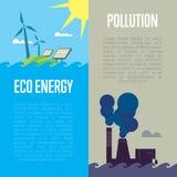 Bannières d'énergie d'Eco et de pollution atmosphérique Illustration Libre de Droits