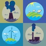 Bannières d'énergie d'Eco et de pollution atmosphérique réglées Illustration Libre de Droits