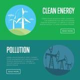 Bannières d'énergie propre et de pollution Images libres de droits