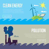 Bannières d'énergie propre et de pollution atmosphérique Illustration de Vecteur
