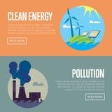 Bannières d'énergie propre et de pollution atmosphérique Images libres de droits
