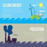 Bannières d'énergie propre et de pollution atmosphérique Illustration Libre de Droits