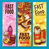 Bannières d'accueil ou de menu de croquis de vecteur d'aliments de préparation rapide illustration stock