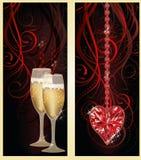 Bannières d'amour avec le champagne et le coeur de rubis Image libre de droits