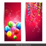 Bannières d'anniversaire illustration stock