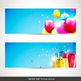 Bannières d'anniversaire - ensemble de vecteur Photographie stock