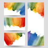 Bannières d'arc-en-ciel d'aquarelle réglées Image libre de droits