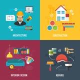 Bannières d'architecture et de concept de construction intérieure avec l'architectu Photos libres de droits