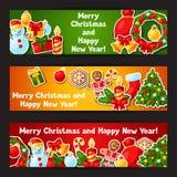 Bannières d'autocollant de Joyeux Noël et de bonne année Photos libres de droits