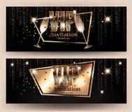 Bannières d'or de VIP avec la serpentine et les verres de champagne Photos libres de droits