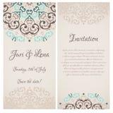 Bannières d'invitation de mariage de damassé Images libres de droits