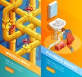 Bannières d'Isomertic de service de tuyauterie d'approvisionnement en eau illustration stock