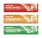 Bannières d'options d'ABC Photographie stock libre de droits