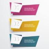 Bannières d'origami de vecteur avec des options de nombre Images libres de droits