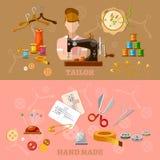 Bannières d'ouvrière couturière et de tailleur travaillant la production de vêtements Photographie stock
