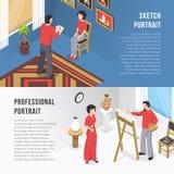 Bannières d'And Portrait Isometric d'artiste Images stock
