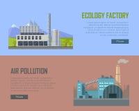 Bannières d'usine d'écologie et de pollution atmosphérique Photo stock