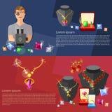 Bannières de bijoux : jewels le bijoutier de gemmes d'anneaux de boucles d'oreille au travail Photographie stock