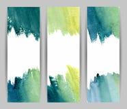 Bannières de bleu d'aquarelle Photo libre de droits