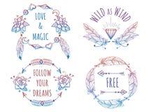 Bannières de Bohème colorées avec le lettrage illustration libre de droits