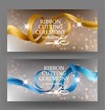 Bannières de cérémonie de coupe de ruban avec les rubans et les ciseaux bouclés de satin illustration stock