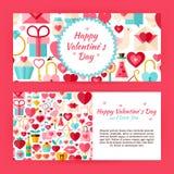 Bannières de calibre de Valentine Day Flat Style Vector réglées Photos stock