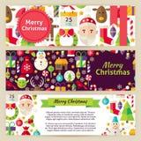 Bannières de calibre de vecteur de Joyeux Noël réglées dans le style plat moderne Photos libres de droits