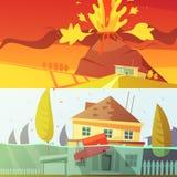 Bannières de catastrophe naturelle illustration de vecteur