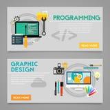 Bannières de concept de programmation et de construction graphique illustration stock