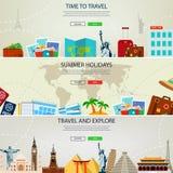 Bannières de concept de voyage et de tourisme Calibres de site Web Vecteur Photo libre de droits