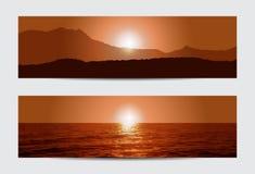 Bannières de coucher du soleil Photos libres de droits