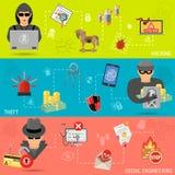 Bannières de crime de Cyber illustration libre de droits
