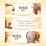 Bannières de croquis de vin illustration de vecteur