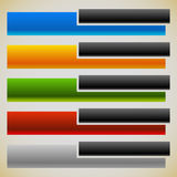 Bannières de deux parts, boutons avec des rectangles de intersection 5 couleurs Images stock