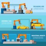 Bannières de fabrication automatisées industrielles illustration libre de droits