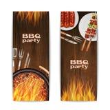 Bannières de gril de BBQ Images stock