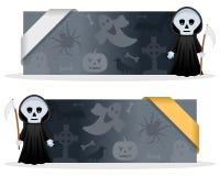Bannières de Halloween avec la faucheuse Photos stock