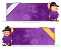 Bannières de Halloween avec la sorcière mignonne Images stock