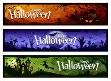 Bannières de Halloween de bande dessinée Images libres de droits