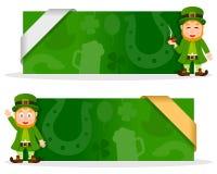 Bannières de jour de St Patrick s avec le lutin Photos stock