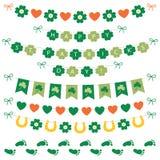 Bannières de jour du ` s de St Patrick et ensemble de vecteur de décoration Photographie stock