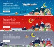 Bannières de Joyeux Noël dans le style plat Voyageant par l'avion, l'autobus et chemin de fer Images stock