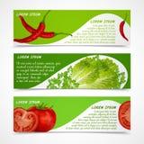 Bannières de légumes horizontales Photos stock