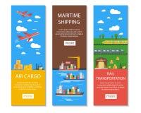 Bannières de logistique et de livraison réglées illustration de vecteur